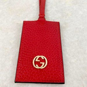 Gucci Red Leather Bag Charm Luggage Tag Keychain